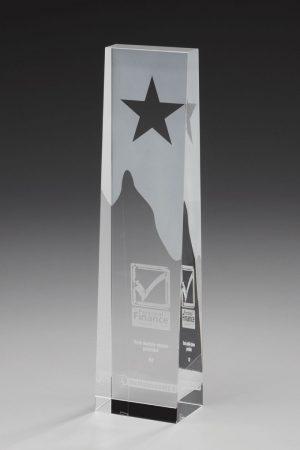 Glaspokal mit Gravur online kaufen Star Obelisk Award